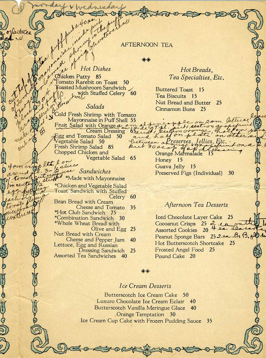 an annotated menu restaurant ing through history