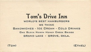 BusinessCardTom'sDrive-in
